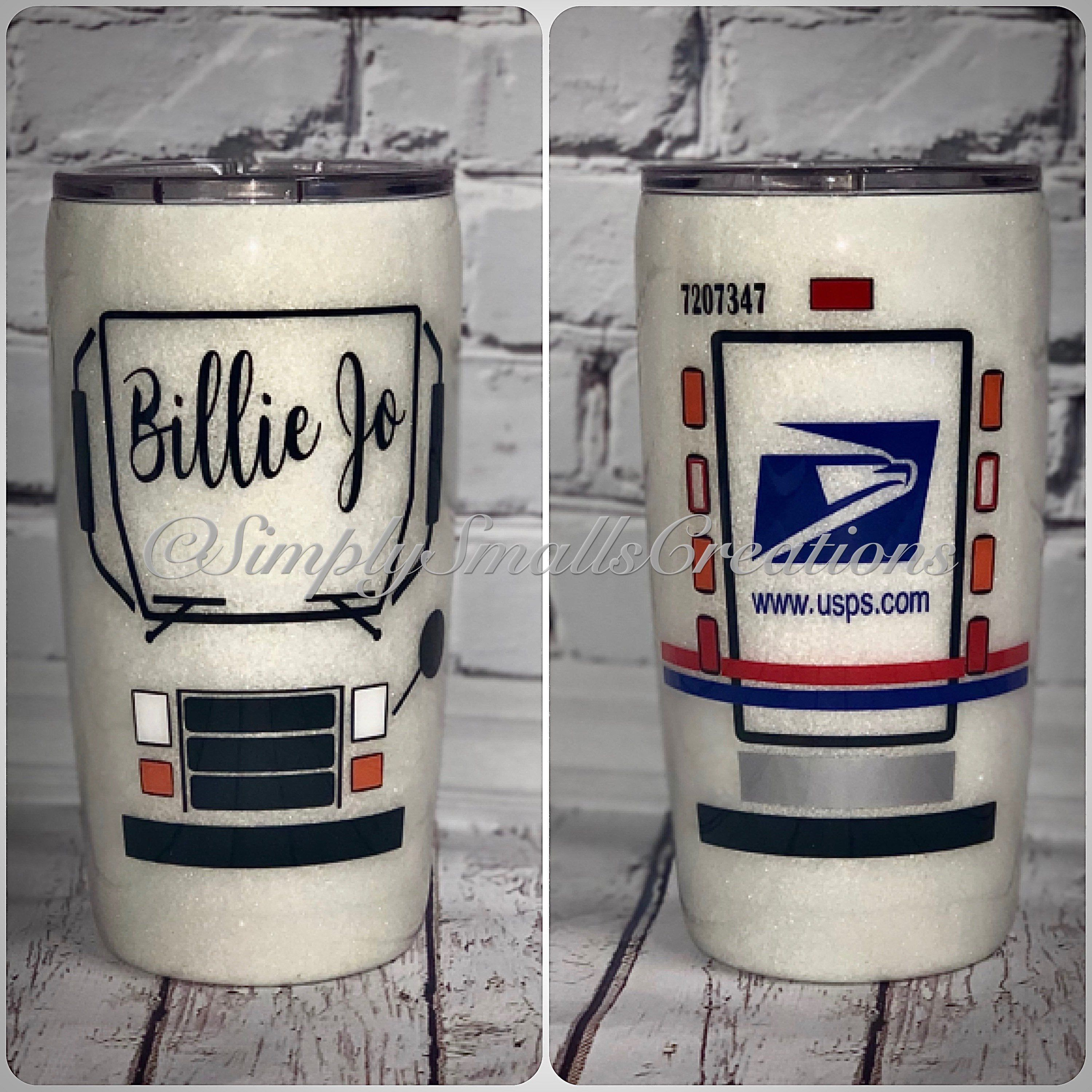 Glittered mail man cup mail lady cup mail carrier cup usps