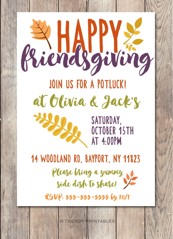 potluck invitation friendsgiving thanksgiving invitation digital