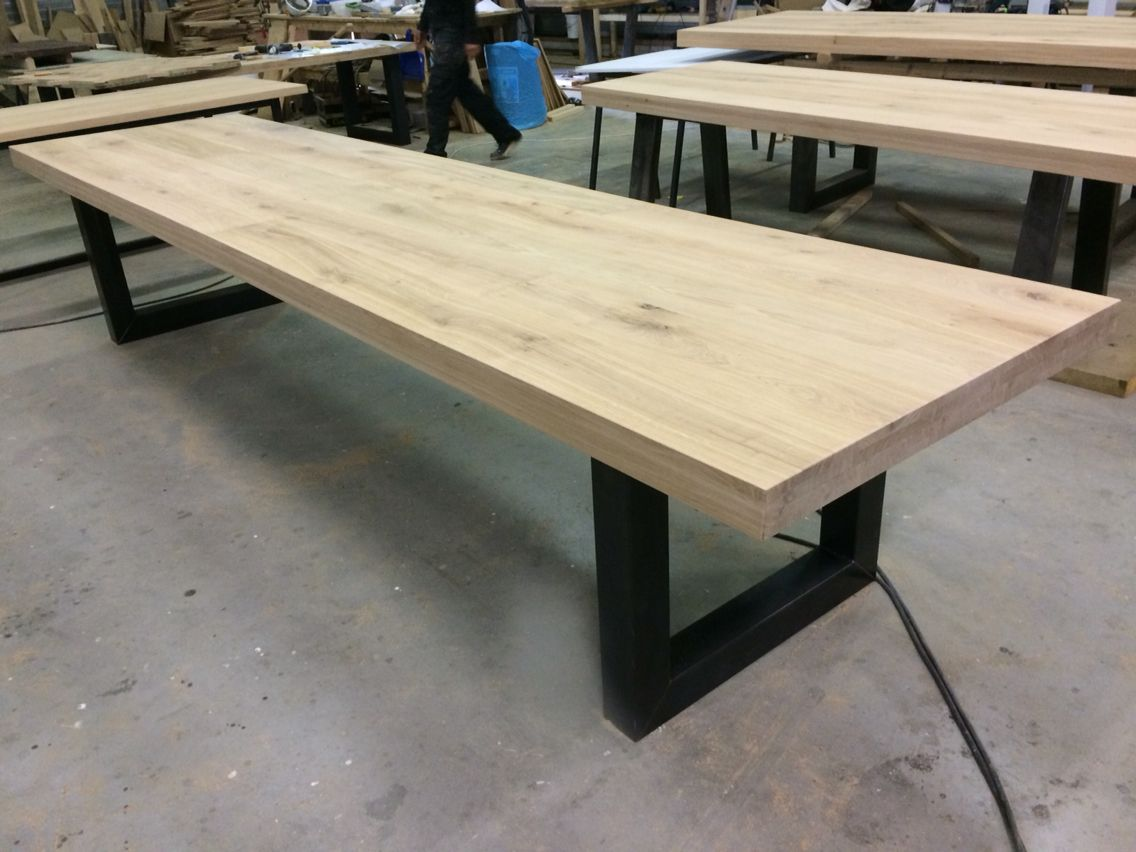 Massief eiken tafel u poot staal meter lang kaldenbach