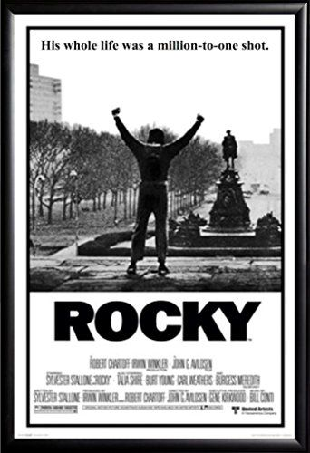 Framed Classic Movie Rocky Balboa 24x36 Poster In Matte Black Finish Wood Frame You Can Find More Classic Movie Posters Movie Posters Vintage Rocky Poster