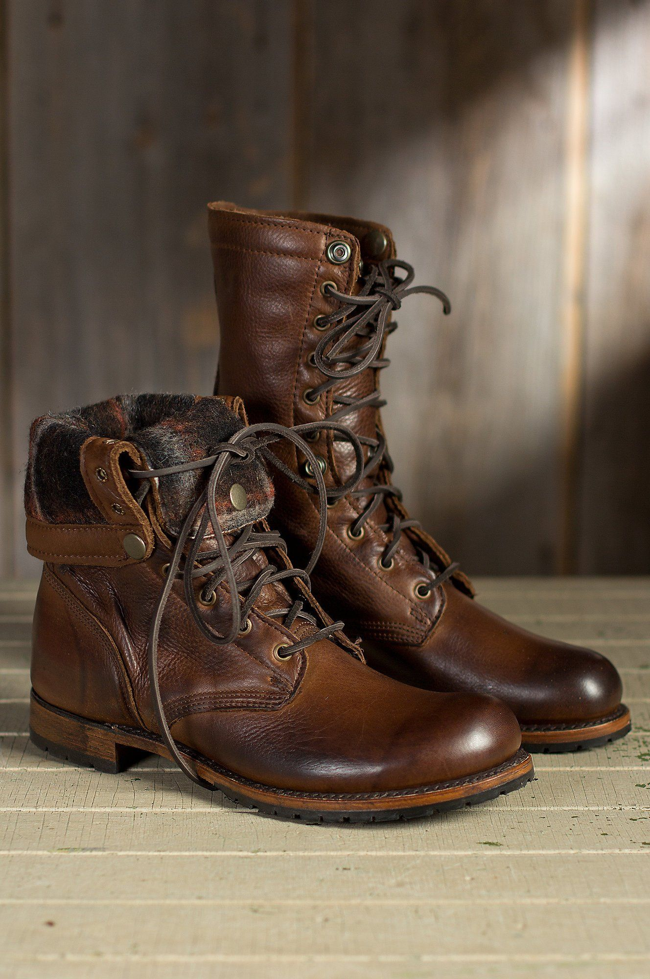 Men's Walk Over Ian Fold Over Leather Jump Boots, CHOCOLATE