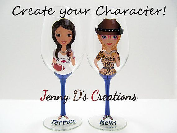 Hey, I found this really awesome Etsy listing at https://www.etsy.com/listing/247381401/create-a-character-wine-glasses-wedding