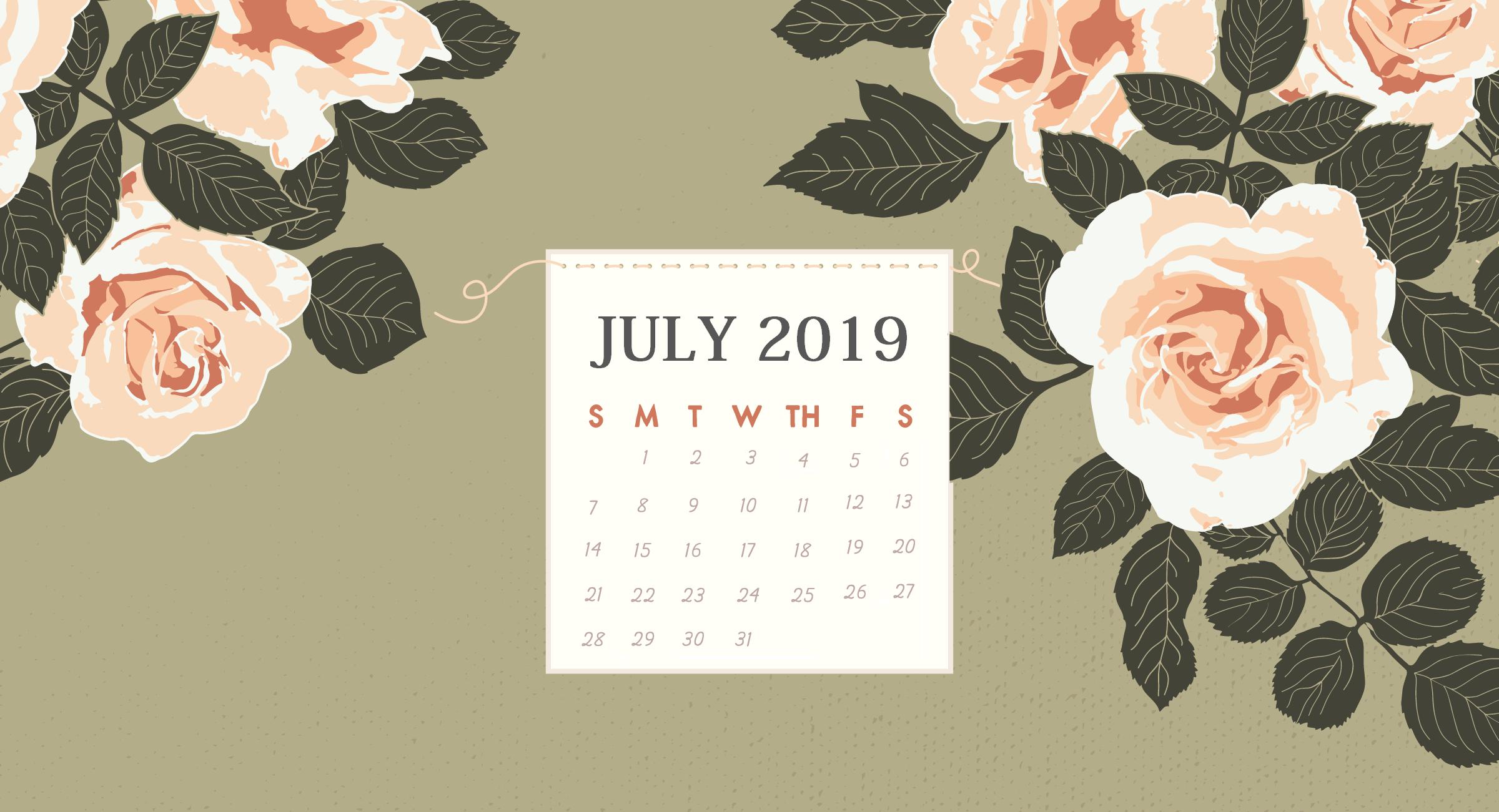 Floral July 2019 Desktop Calendar Wallpaper Calendar Wallpaper July Calendar Calendar Background