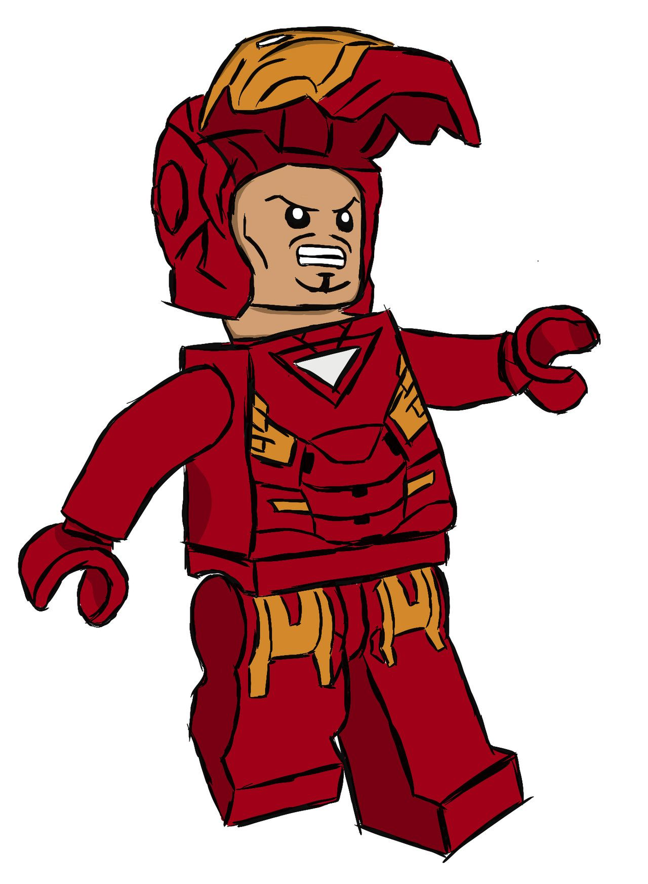 Lego Iron Man Cartoon - Lego Iron Man Digital Drawing