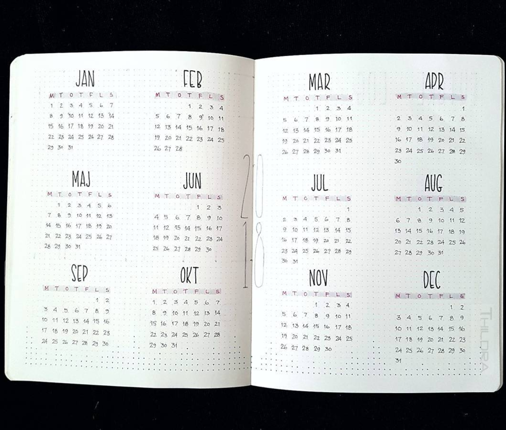 Year At A Glance Bullet Journal Layout ; Year Layout Bullet Journal