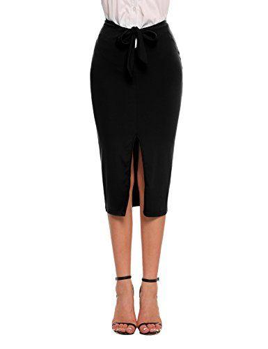 9618a33de Chigant Women's High Waist Knot Scuba Pencil Skirts Stretch Side Split  Print Pull On Midi Bodycon Skirt