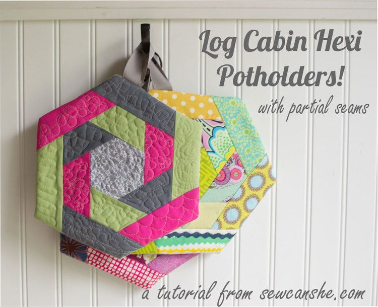 Log Cabin Hexi Potholders... a tutorial with partial seams ...