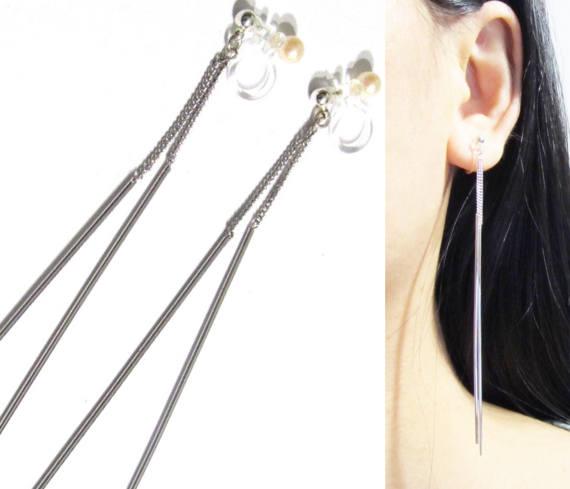 Invisible Clip On Earrings 14g Ear Threader Thread Threaded Wedding Bar Dangle Earring Bridal Ons Dangles And