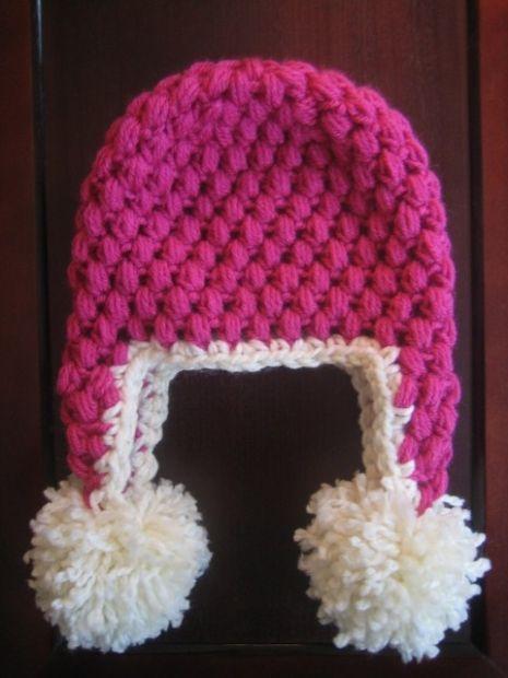 Crochet Hat Pattern Puff Stitch Earflap Hat Newborn to Adult ...