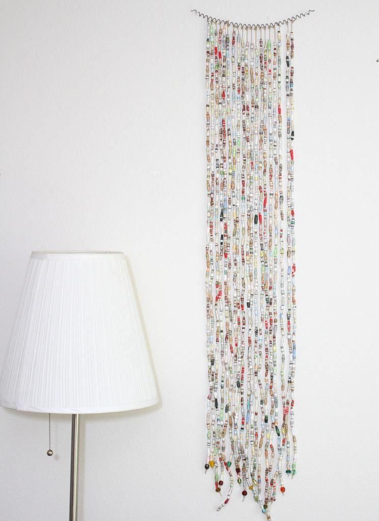 DIY Home Decor: Bead curtain art.  Make this cool and unique wall art with beads!