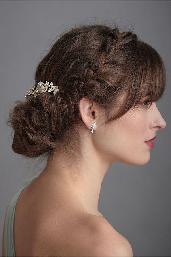Peinados de novia recogidos con flequillo
