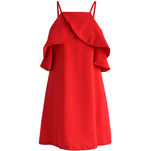 Chicwish Sylphlike Red Cold-shoulder Dress (€48) ❤ liked on Polyvore featuring dresses, red, open shoulder dress, loose fitting dresses, short loose dresses, short red dress and red camisole