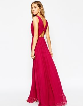 Pammy plunge neckline maxi chiffon dress with split