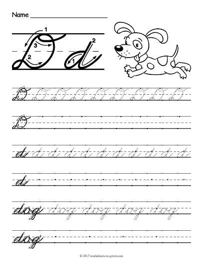 Capital Cursive D : capital, cursive, Printable, Cursive, Worksheet, Handwriting, Worksheets,, Learning, Cursive,, Teaching