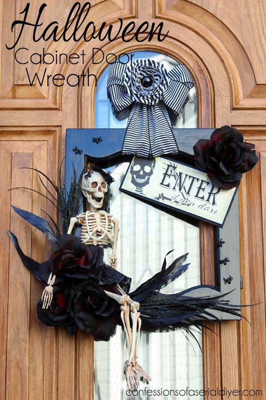Halloween Wreath using a salvaged cabinet door