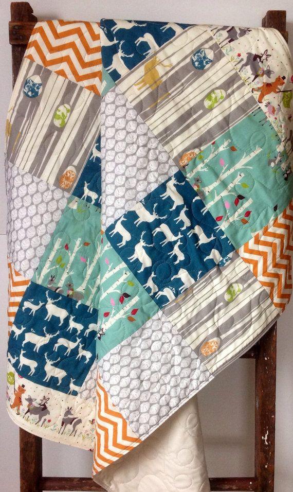 Baby Quilt, Organic, Modern, Vintage-Rustic, Birch Forest, Elk, Chevron,Yay Day,Crib Bedding, Baby Bedding, Nursery Quilt op Etsy, 103,82€