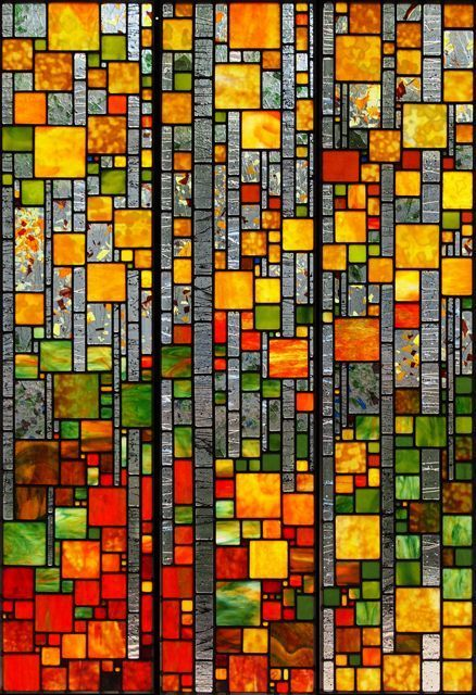 Photo of Mountain Aspens  stained glass artwork by Josephine A. Geige…