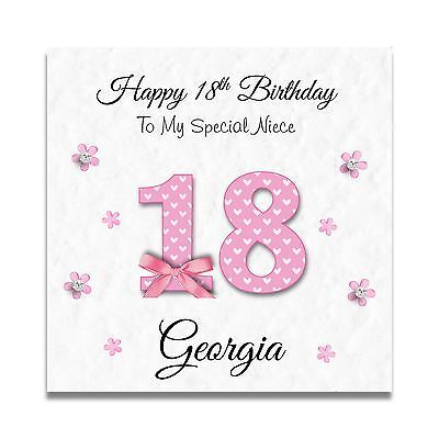 Handmade Personalised Ladies Daughter Granddaughter 16th 18th Birthday Card