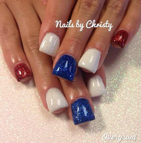 red white and blue fourth of july nails