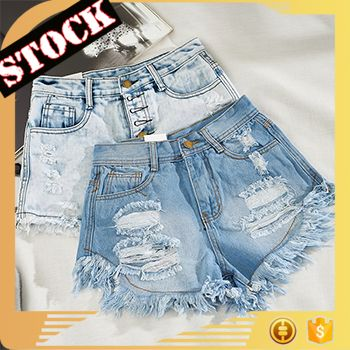 af5560d9d L6708 2017 stock fashion hole ripped jeans high waist slim fit edging denim  shorts top girls half pants
