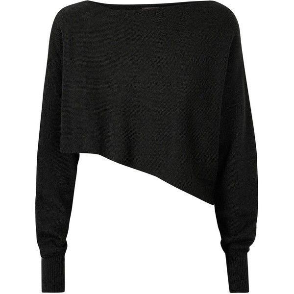 Crea Concept Womens Jumpers Crea Concept Black Cropped Asymmetric ...