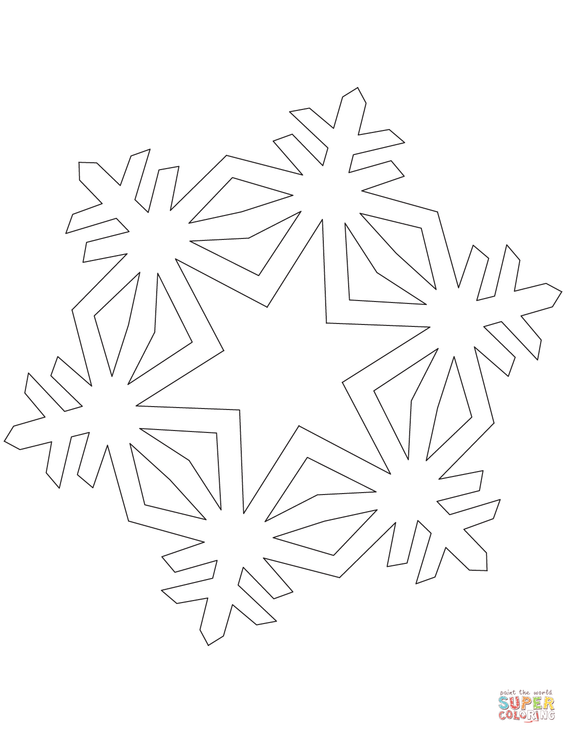 Simple Crystal Snowflake coloring page from Snowflakes category ...