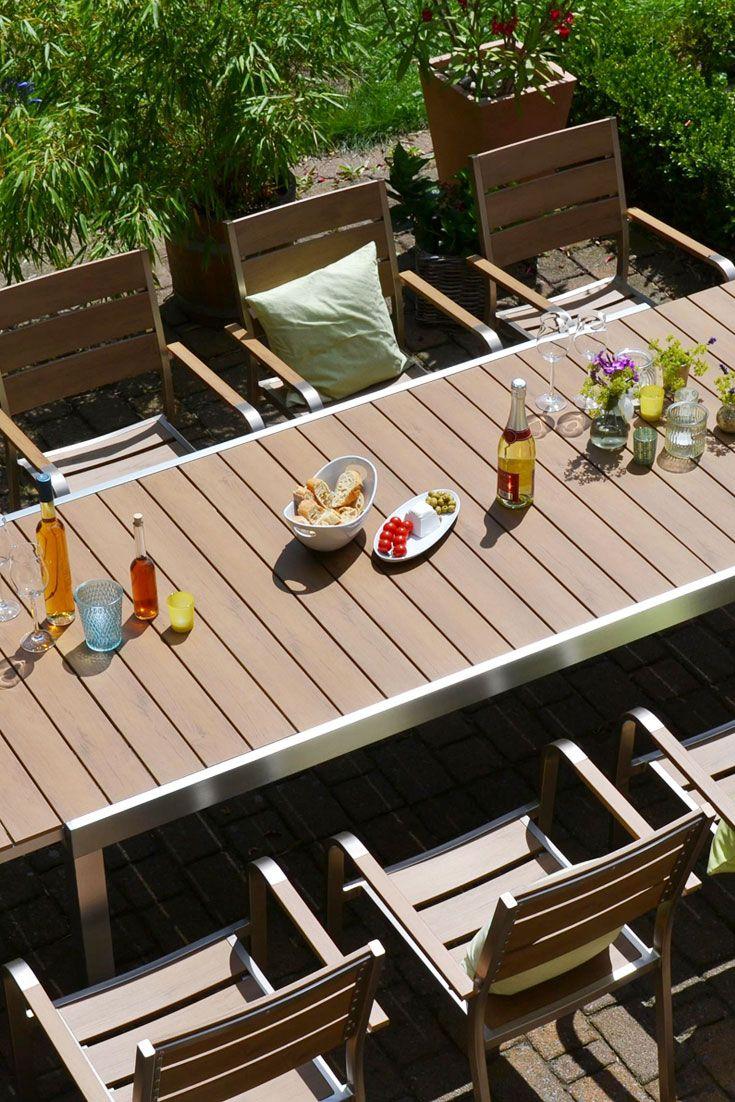 Garnitur Orlando Im Edelstahl Teak Look 180 270cmx100cm 6 Hochlehner Teak Rustikale Tische Gartenstuhle