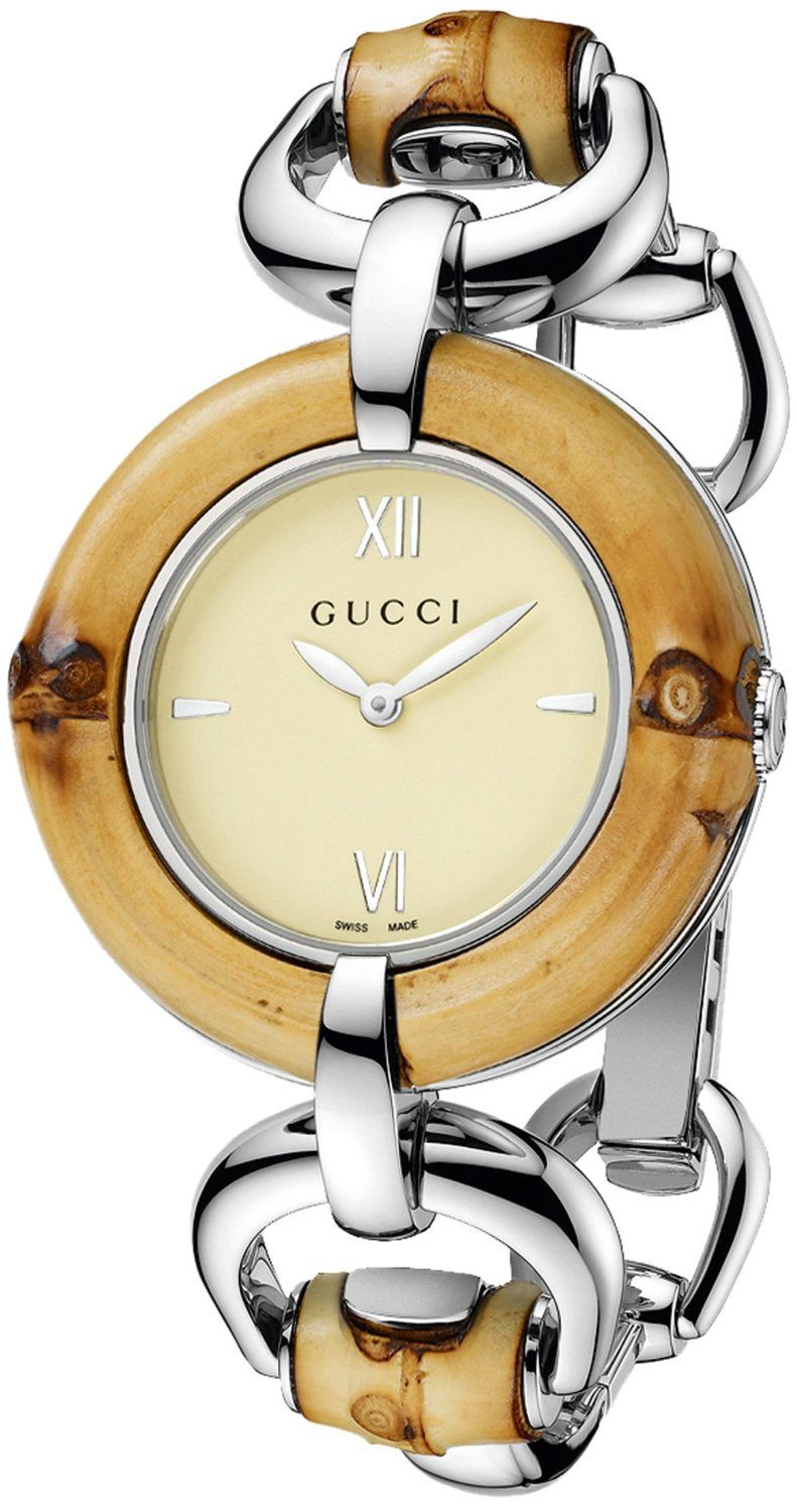 7c6a63aee51 Gucci Women s YA132404 Bamboo Special Edition Gucci Iconic Design Natural Bamboo  Watch.
