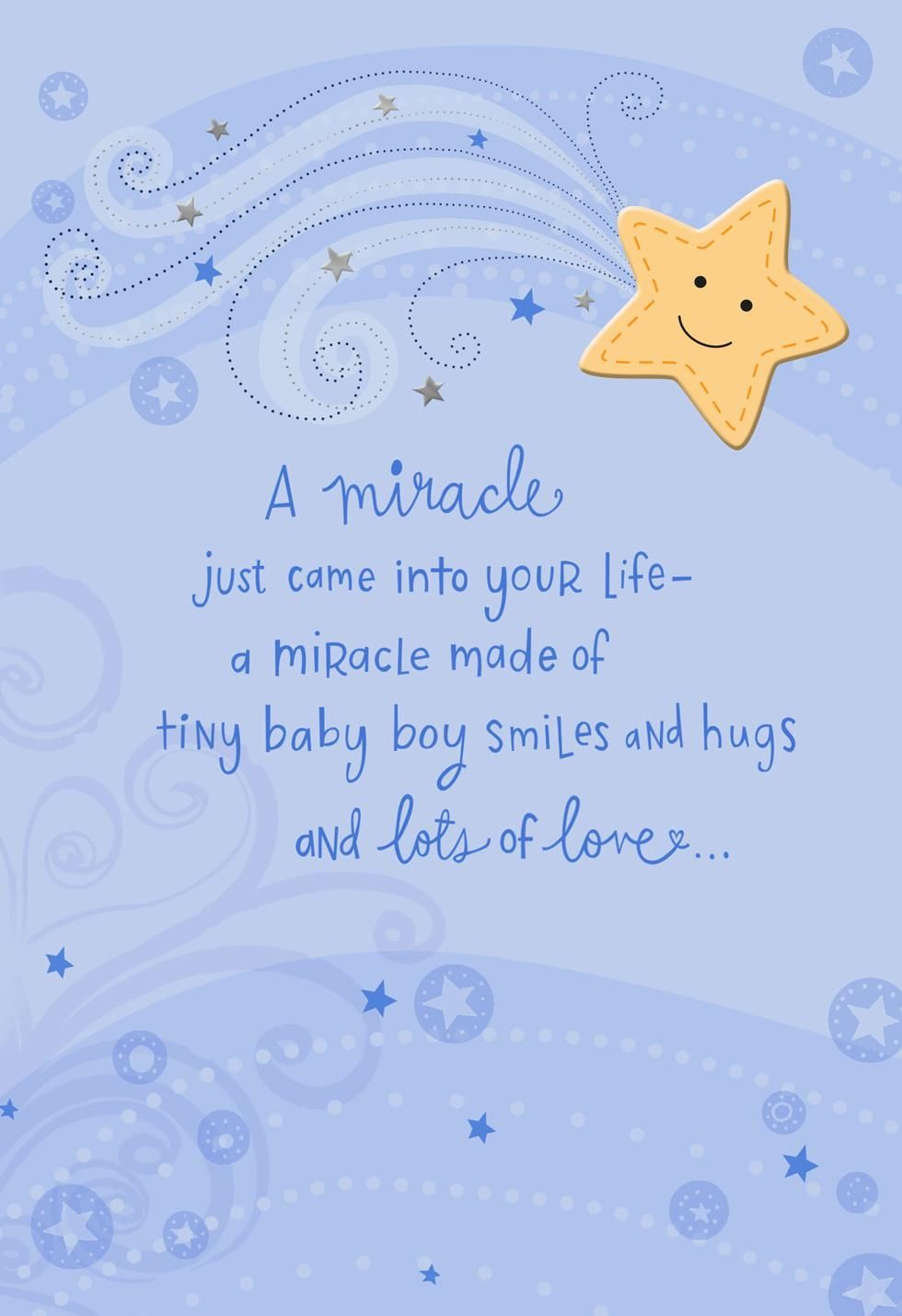 A Miracle Came Into Your Life New Baby Boy Card Baby