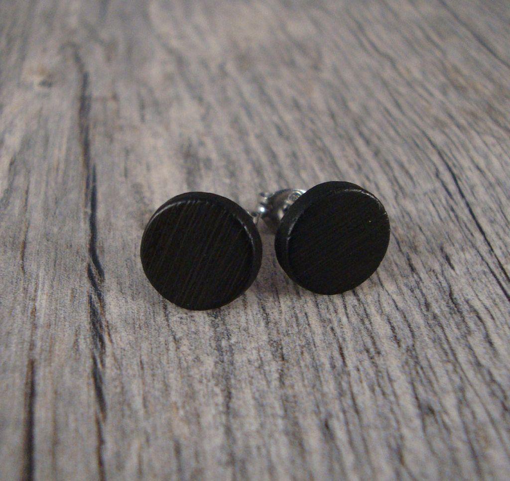 Etsy Flat Black Stud Earrings Wooden Post