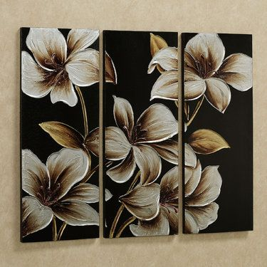 Lilies At Dusk Floral Triptych Canvas Art Set Triptych Art Flower Painting Canvas Multiple Canvas Paintings