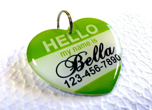 cute....Dog Tag Pet Tag Custom Name Tag Hello My Name Is Heart Shape by ID4Pet. $14.75, via Etsy.