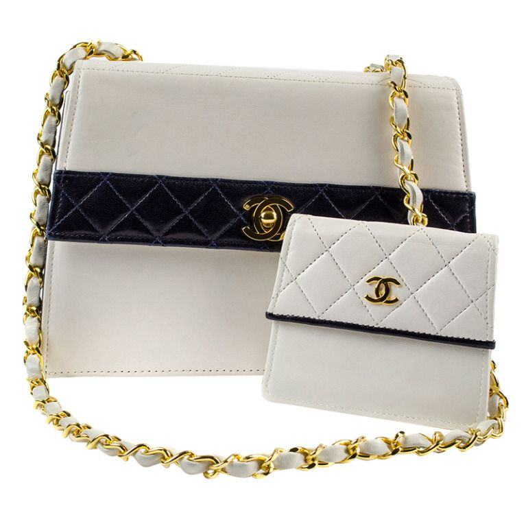 dc9006f1d34c Chanel White/Navy Color Block Bag | From a collection of rare vintage  handbags and