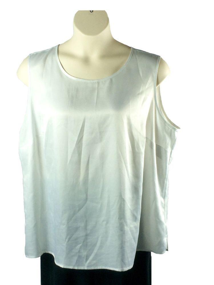 Womens Kasper Pearl White Blouse Plus Size 3x Sleeveless Polyester