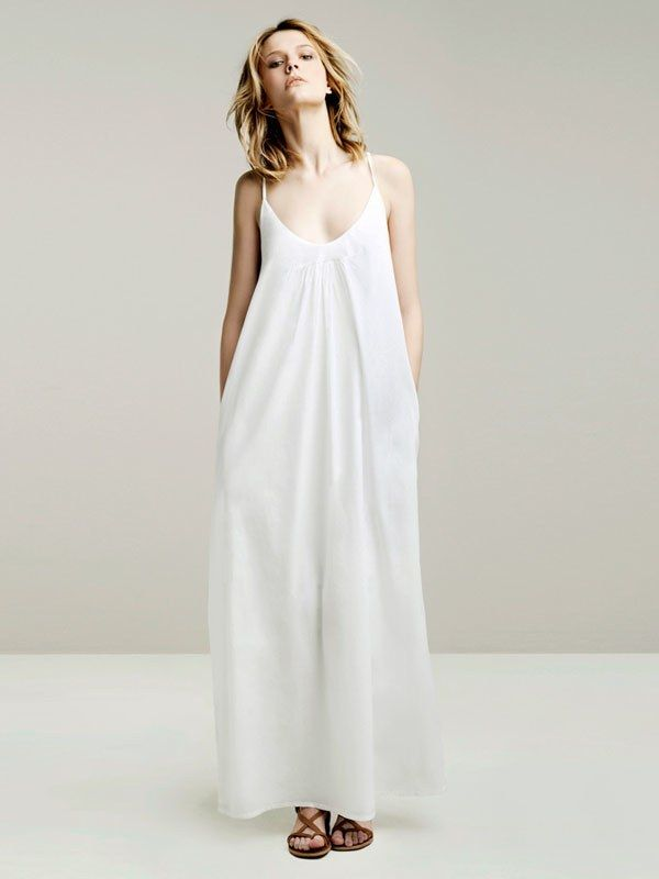 White Strap Long Maxi Dresses