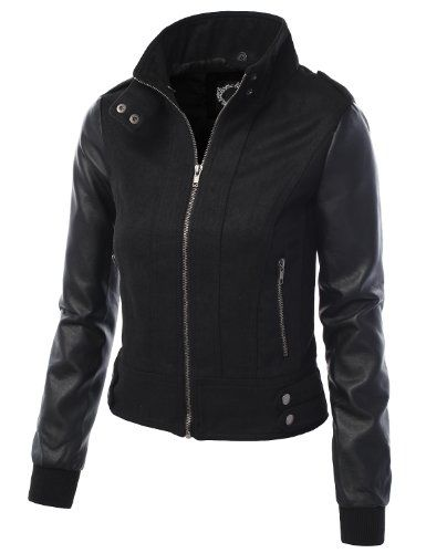 LE3NO Womens Edgy Faux Leather Zip Up Bomber Jacket With Front Pockets $19.59 (42% OFF)