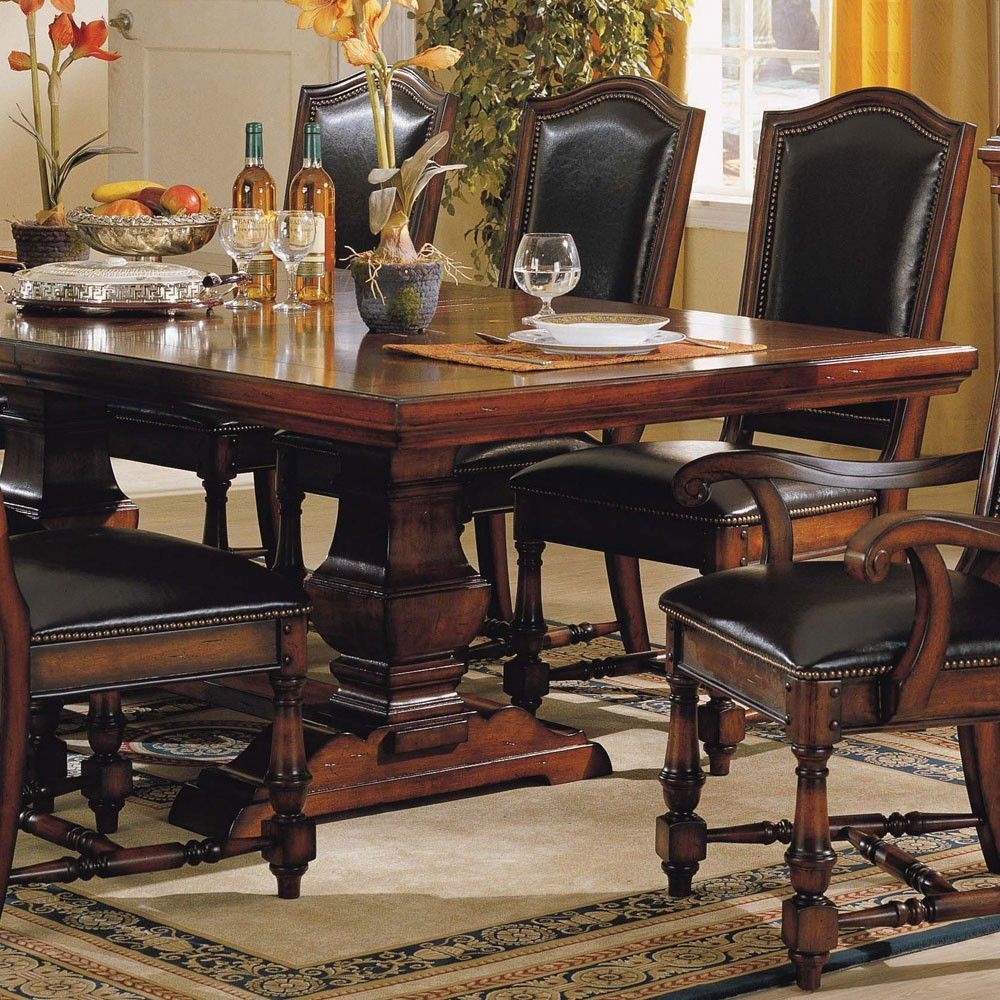 Ashford Wood Trestle Dining Table Leather Chair In Cherry