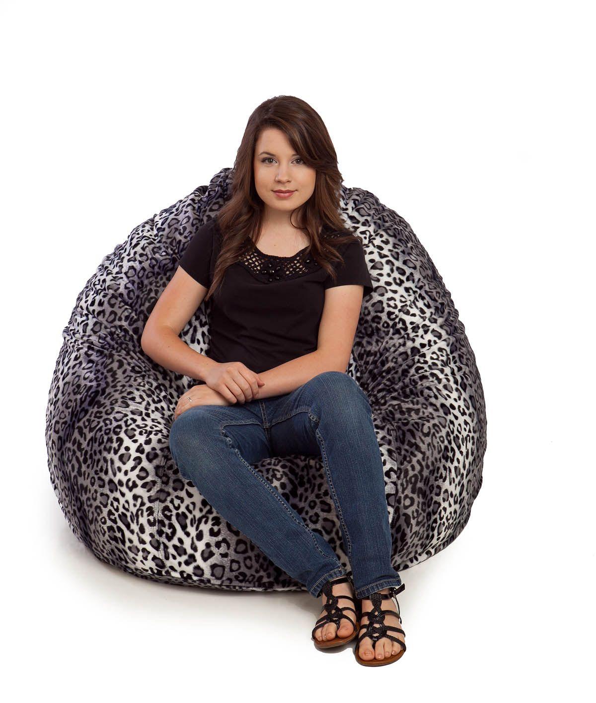 Groovy Snow Cheetah Fur Bean Bag Chair Large Large Bean Bag Evergreenethics Interior Chair Design Evergreenethicsorg