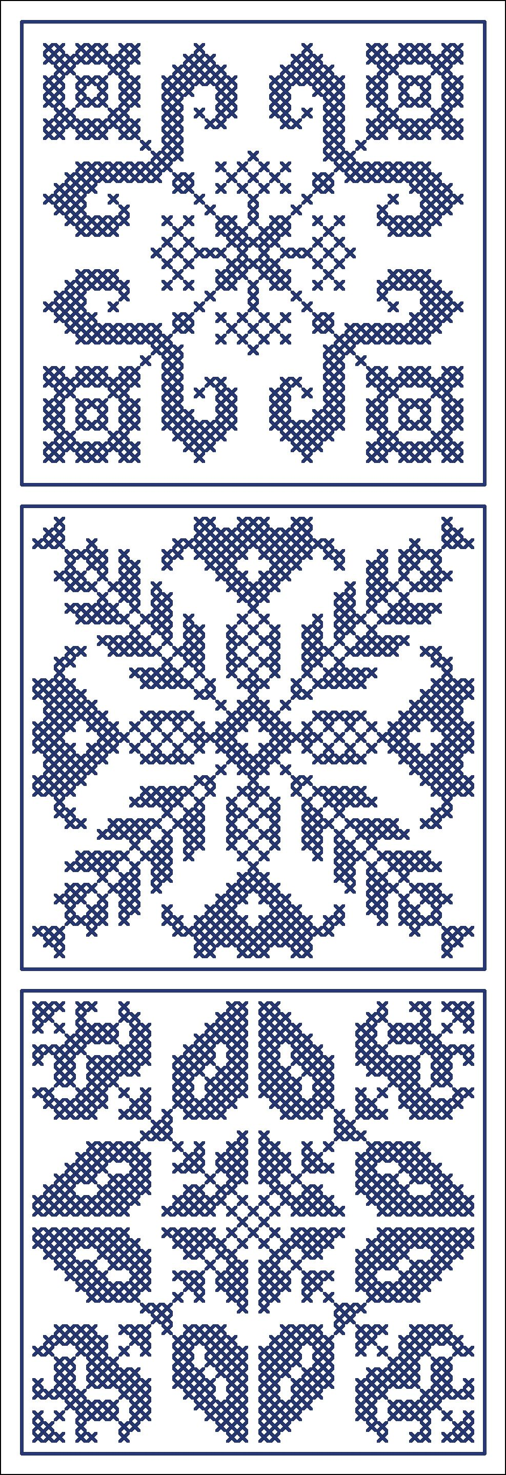 Three blue tiles | Chart for cross stitch of filet crochet.
