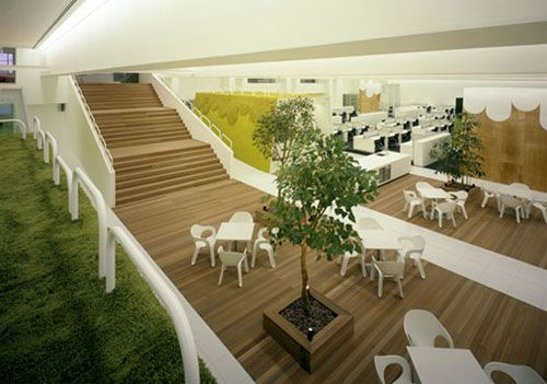TBWA Hakuhodo is a Japanese advertising company. This awesome office was designed by Klein Dytham Architecture. This office wants to bring the outside in.