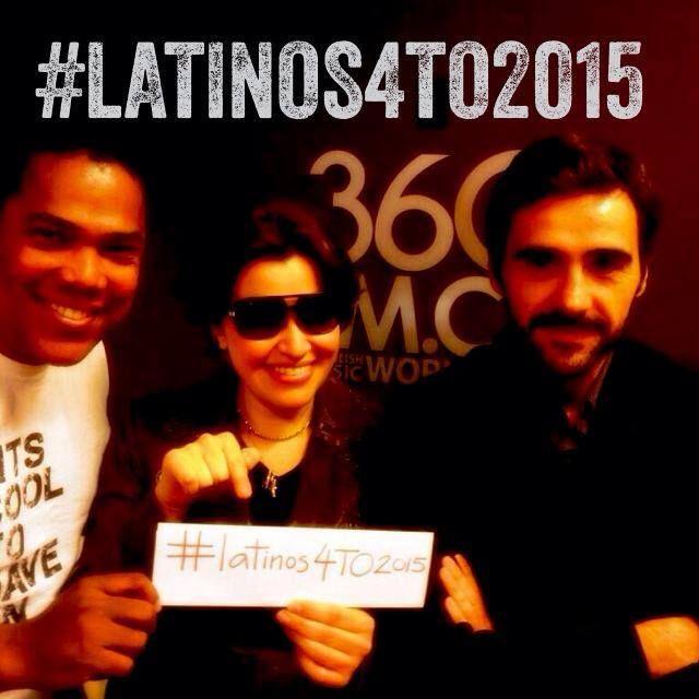 Keiter Feliz, Pina Russo y Juan Gavasa promoviendo la campaña #Latinos4TO2015 en 360FM