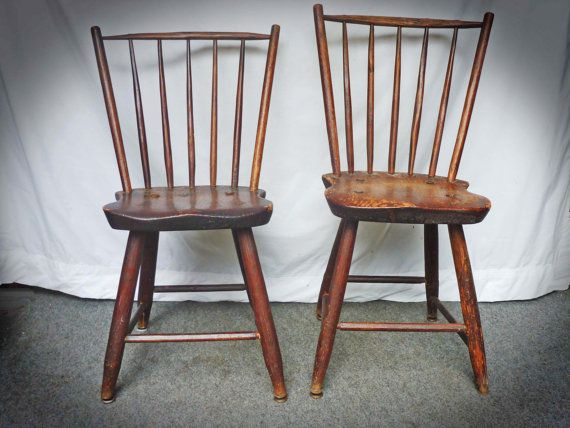 Pair Antique Primitive WINDSOR CHAIRS c1800 Rod by Greentiques, $400.00 - Pair Antique Primitive WINDSOR CHAIRS C1800 Rod By Greentiques