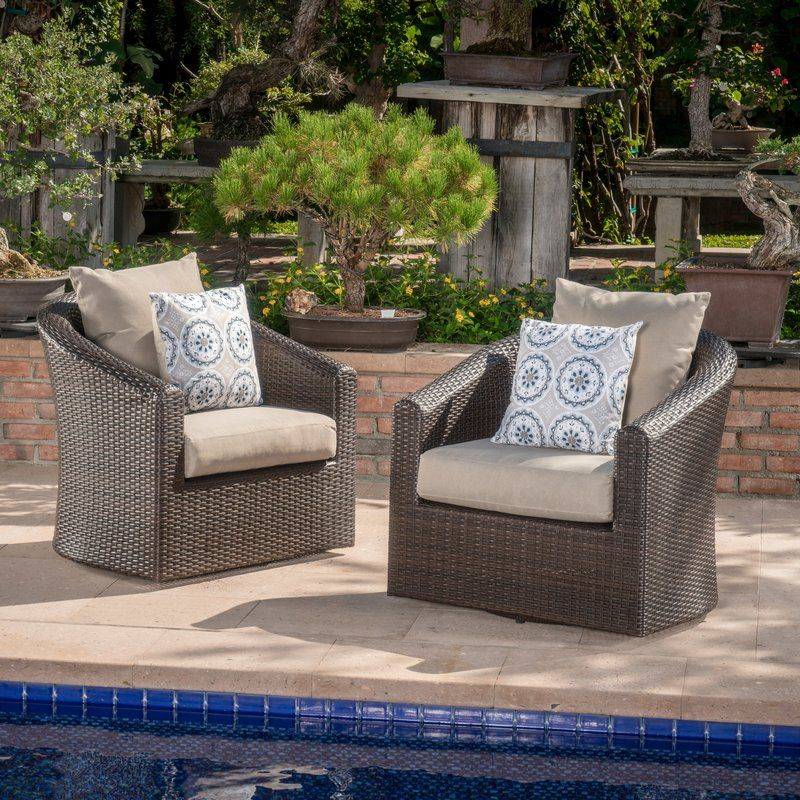Dierdre Swivel Patio Chair With Cushions Patio Chairs Wood