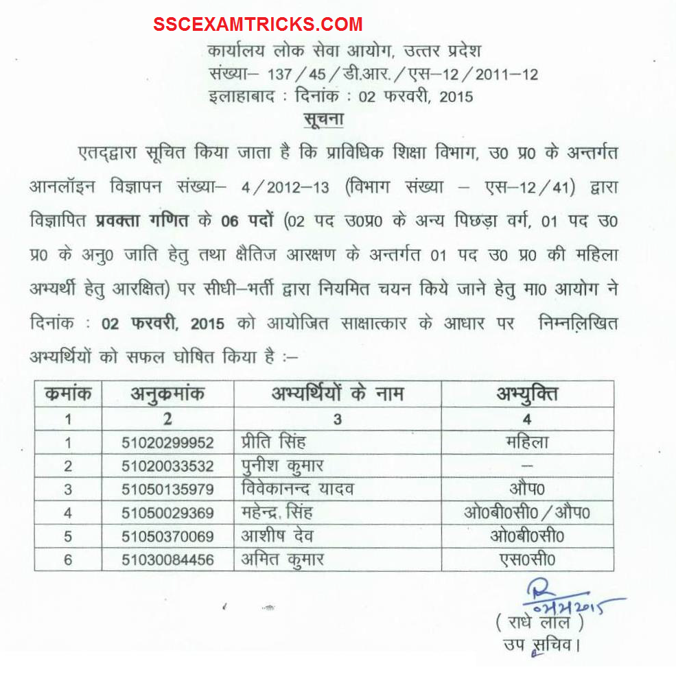 Uppsc interview result released appointment letter joining uppsc interview result released appointment letter joining application post hindi teacher online writing lab spiritdancerdesigns Image collections