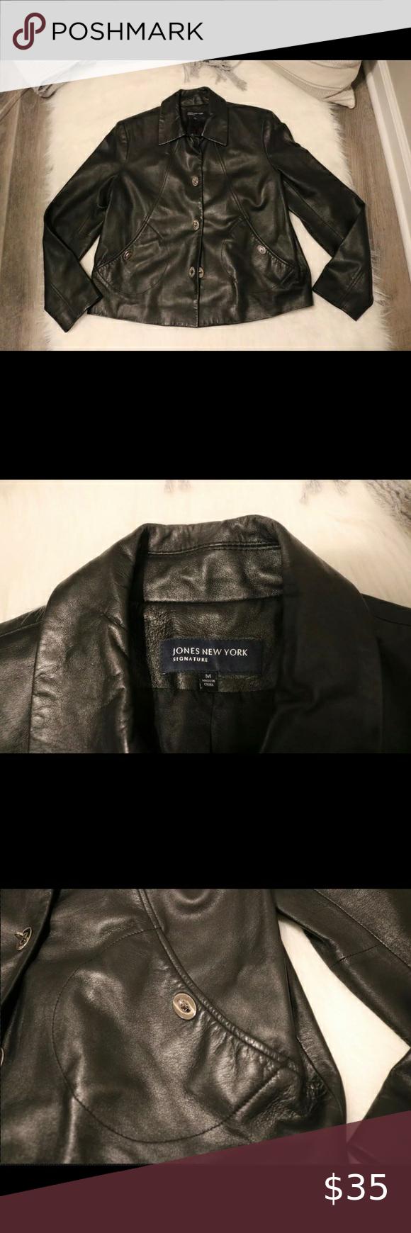 Jones New York Signature Black Soft Leather Jacket Jones New York Signature Leather Jacket Jones New York [ 1740 x 580 Pixel ]