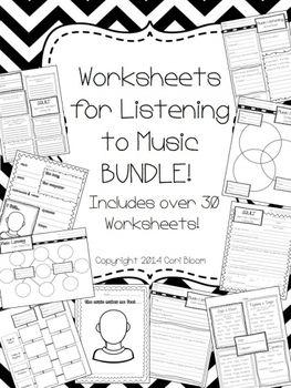 music listening worksheet bundle printable worksheets and worksheets. Black Bedroom Furniture Sets. Home Design Ideas