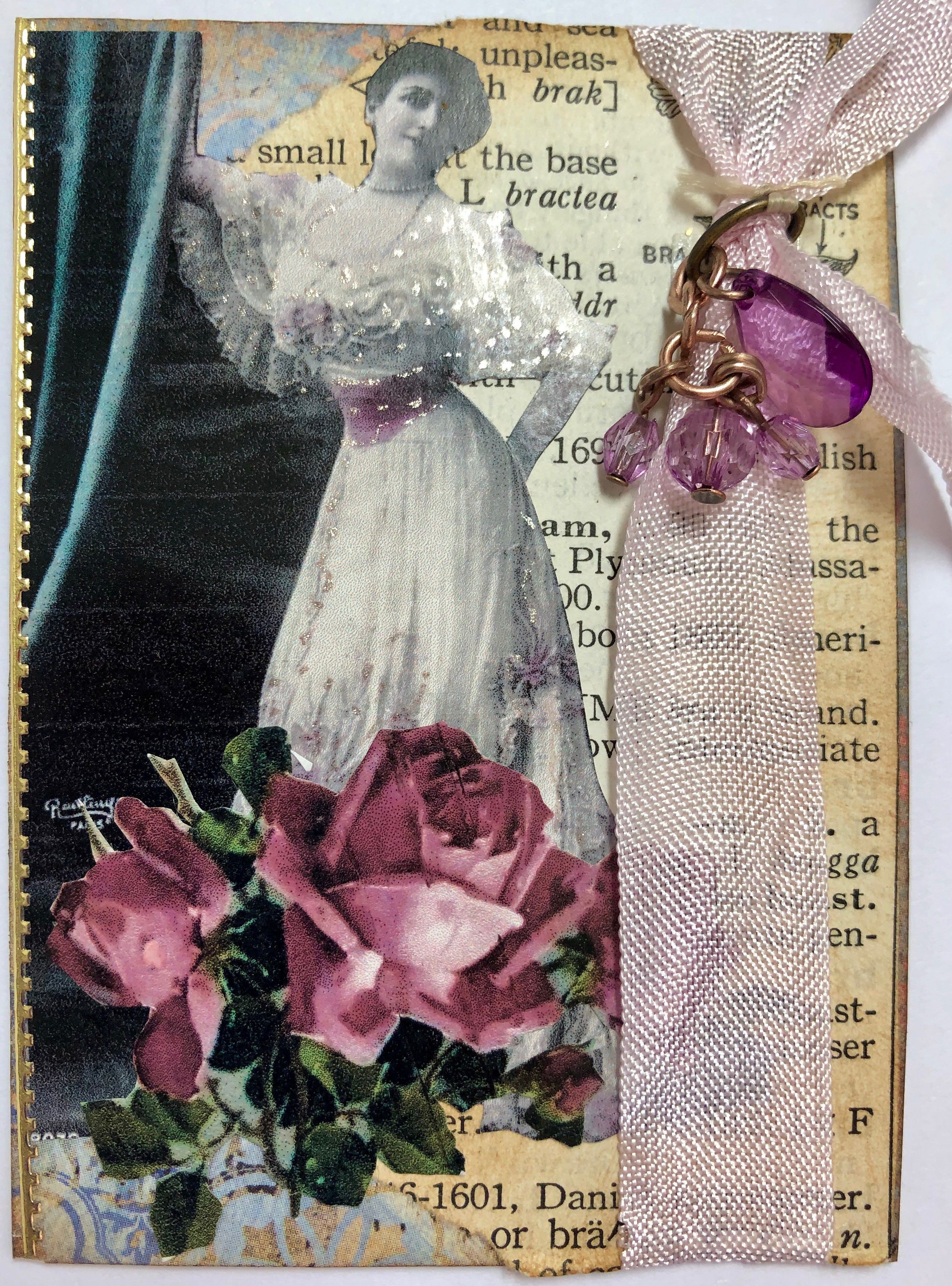 3 Elements ATC #16 (lady in a gown, flowers, and dictionary page)   Atc,  Flowers, Lady