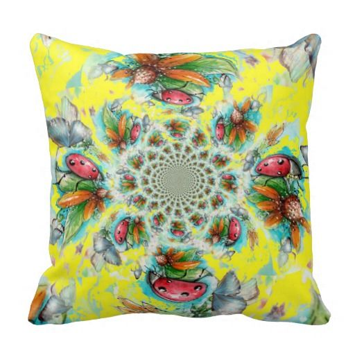 Lady Bug Yellow Swirl Pillow
