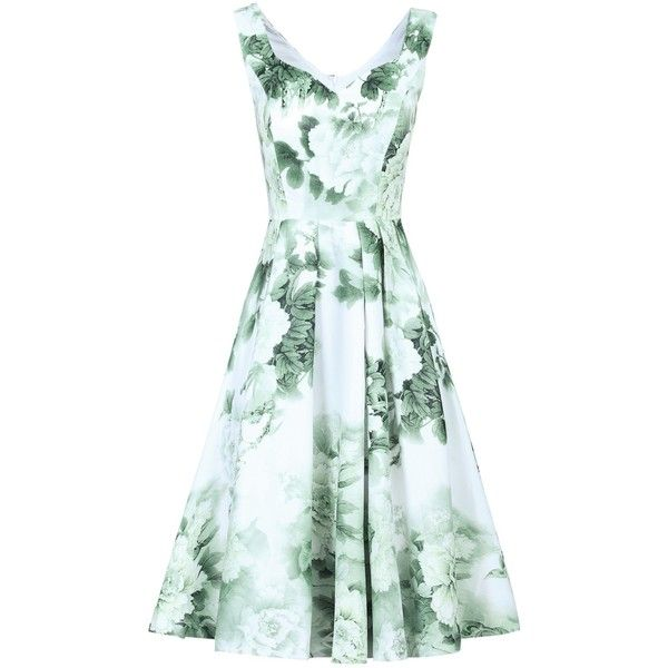 Jolie Moi Sweetheart Neckline Floral Printed Dress (€62) ❤ liked on Polyvore featuring dresses, fit flare dress, green maxi dress, light green dress, long-sleeve floral dresses and print maxi dress
