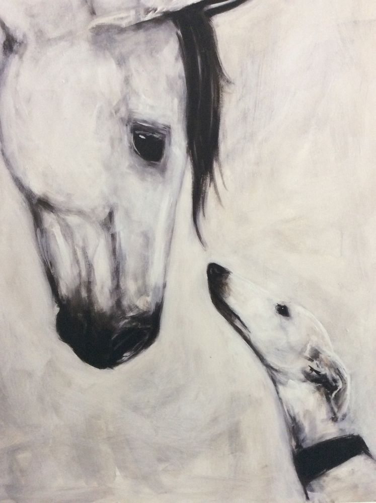 Greyhound/Galgo& Horse Acrylic painting/ print on Canvas\